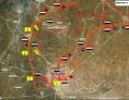 Image illustrant la bataille pour le contrôle de la localité stratégique d'Al-Qussayr. Les forces loyalistes sont représentées par le drapeau syrien. Celles du Hezbollah libanais sont sous pavillon jaune.