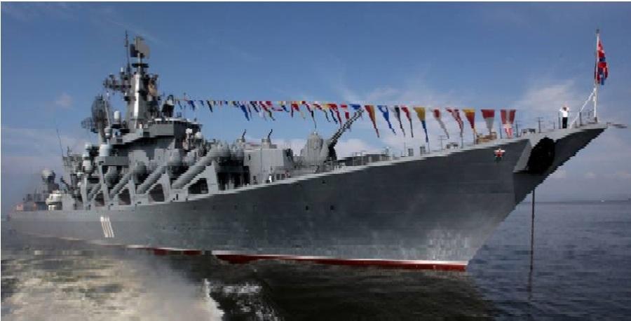 Le fleuron de la flotte russe du Pacifique, le Croiseur lance-missiles Varyag, pourrait faire route vers la Méditerranée, selon Ria Novosti, citant un haut responsable militaire russe. Il sera le second croiseur lance-missiles russe à renforcer la flotte russe en Méditerranée Orientale.