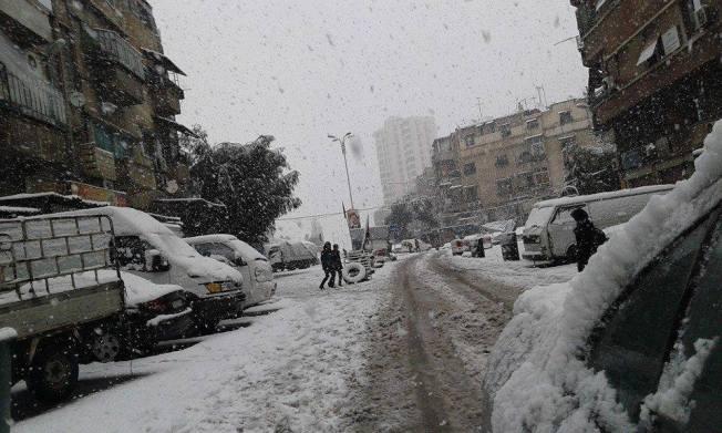 Mezzeh à Damas. Sous la neige. Janvier 2015.