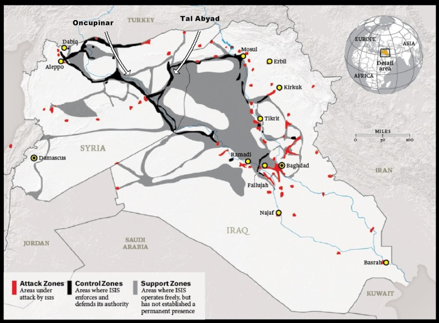 Image: The summation of ISIS' supplies come from NATO and US-allied territory, primarily Turkey and Jordan. Turkey in addition to being a NATO member since the 1950's also hosts a US air base. No efforts have been made, nor any calls even, to secure Turkey's border and deny what is alleged to be an implacable enemy of the West billions in supplies passing through the West's own territory and into the theater of conflict ISIS is operating in.