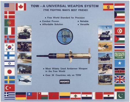 Affiche publicitaire de Hughes, fabricant US du missile TOW datant des années 90. On devrait y ajouter le drapeau de Daech...