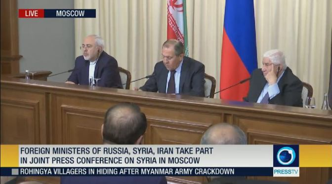 Lavrov, Zarif and Muallem Give Joint Press Conference After Meeting in Moscow